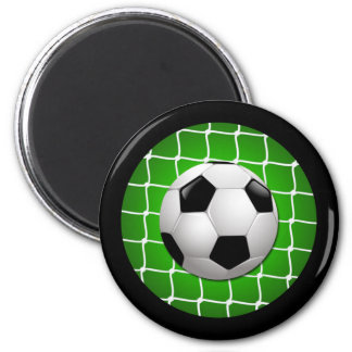 SOCCER BALL AND GOAL NET 2 INCH ROUND MAGNET