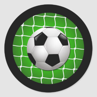 SOCCER BALL AND GOAL NET CLASSIC ROUND STICKER