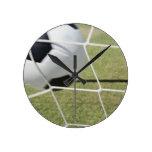 Soccer Ball and Goal Round Wallclocks