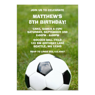 soccer ball and grass birthday party invitations - Soccer Party Invitations