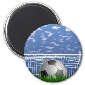 Soccer ball and net 2 inch round magnet
