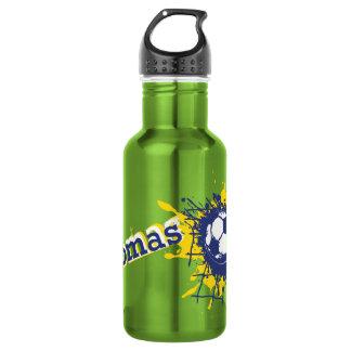 Soccer ball and net splat named drinks bottle 18oz water bottle