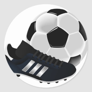 Soccer Ball and Shoe Classic Round Sticker