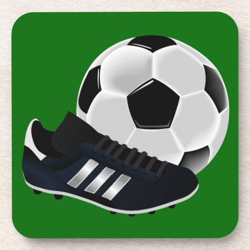 Soccer Ball and Shoe Drink Coaster