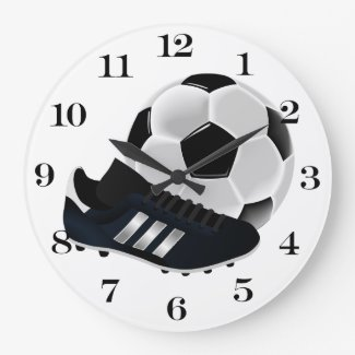 Soccer Ball and Shoe Large Clock