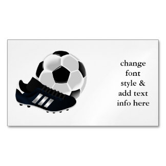 Soccer Ball and Shoe Magnetic Business Card