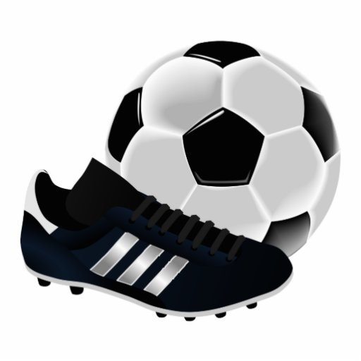 Soccer Ball and Shoe Standing Photo Sculpture