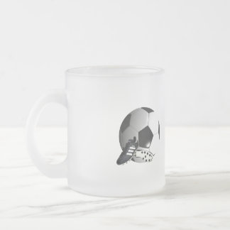 Soccer_Ball,_And_Shoes_Frosted_Glass_Mug Frosted Glass Coffee Mug