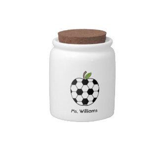 Soccer Ball Apple Gym Teacher Candy Jar