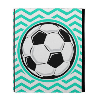 Soccer Ball; Aqua Green Chevron iPad Folio Cover