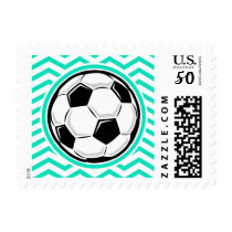 Soccer Ball; Aqua Green Chevron Postage