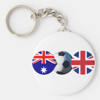 Soccer Ball Australia & UK Flag jGibney The MUSEUM Basic Round Button Keychain