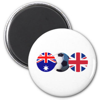 Soccer Ball Australia & UK Flag The MUSEUM Zazzle 2 Inch Round Magnet