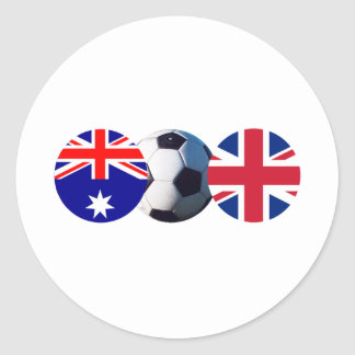 Soccer Ball Australia & UK Flag The MUSEUM Zazzle Classic Round Sticker