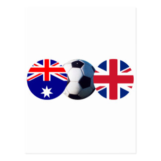 Soccer Ball Australia & UK Flag The MUSEUM Zazzle Postcard