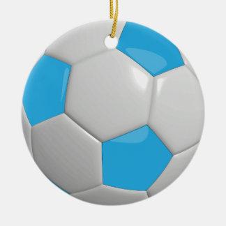 Soccer Ball   Baby Blue Ceramic Ornament