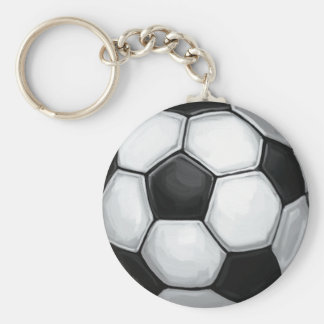 Soccer Ball Basic Round Button Keychain