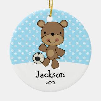Soccer Ball Bear Blue Kids Personalized Christmas Ceramic Ornament