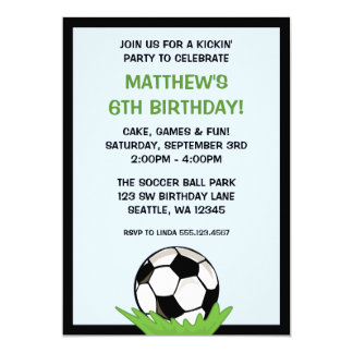 Soccer Ball Birthday Party Invitations