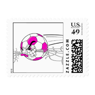 soccer ball biting net girls pink postage stamp