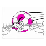soccer ball biting net girls pink postcard