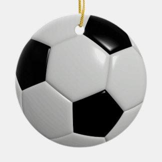 Soccer Ball   Black Ceramic Ornament