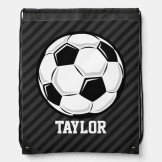 Soccer Ball; Black & Dark Gray Stripes Backpack