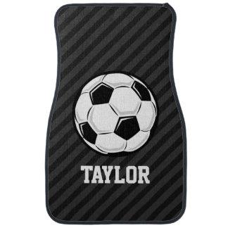 Soccer Ball; Black & Dark Gray Stripes Car Mat