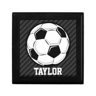 Soccer Ball; Black & Dark Gray Stripes Trinket Box