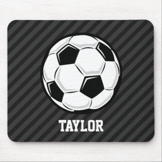 Soccer Ball; Black & Dark Gray Stripes Mouse Pad