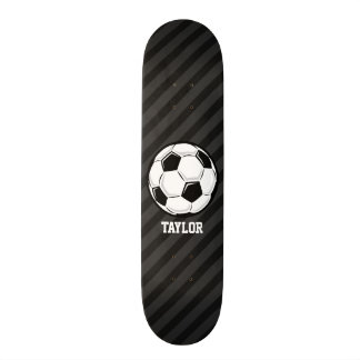 Soccer Ball; Black & Dark Gray Stripes Skateboard Deck
