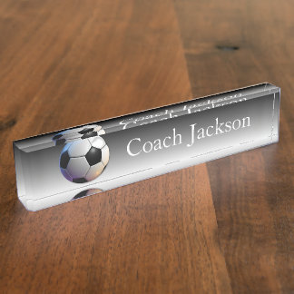 Soccer ball black fade desk nameplate
