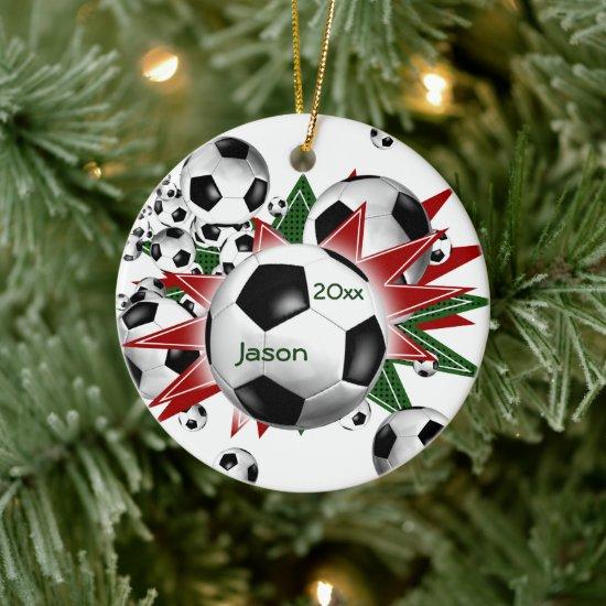 Soccer Ball Blowout Ceramic Ornament