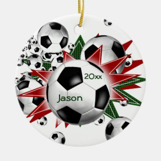 Soccer Ball Blowout Ceramic Ornament