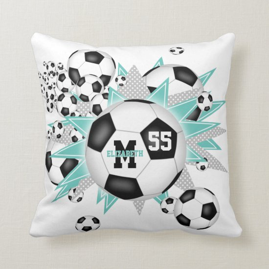 soccer ball blowout girly sports room decor throw pillow