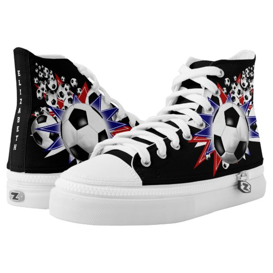 soccer ball blowout red white and blue High-Top sneakers