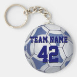 Soccer Ball Blue and White Name and Number Basic Round Button Keychain