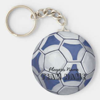 Soccer Ball Blue and White Name and Number Keychain