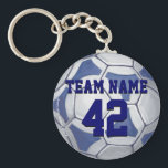 "Soccer Ball Blue and White Name and Number Keychain<br><div class=""desc"">Blue and White Soccer Ball Art Custom Team Name and Number Key Chains brought to you by ITD Sports Center featuring our original art of a black and white soccer ball are great gifts for soccer lovers, soccer fans and sports aficionados of all ages. It's all fun and games at...</div>"
