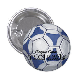 Soccer Ball Blue and White Name and Number Pinback Button