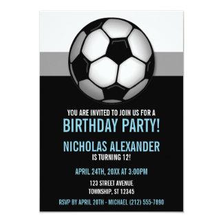 Soccer Ball Blue & Black Birthday Invitations