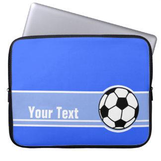 Soccer Ball; Blue Laptop Computer Sleeves