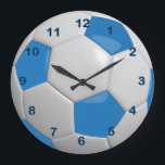 "Soccer Ball | Blue Large Clock<br><div class=""desc"">Soccer Ball Clock 