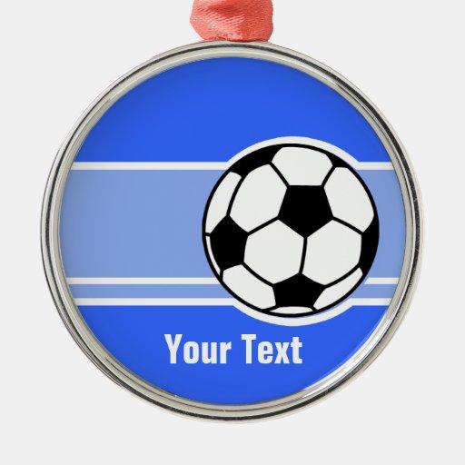 Soccer Ball; Blue Metal Ornament