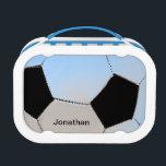 "Soccer ball - blue tones lunch box<br><div class=""desc"">Soccer ball - blue tones - personalized lunch box</div>"
