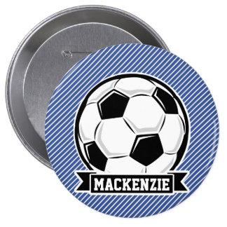 Soccer Ball, Blue & White Stripes, Sports 4 Inch Round Button