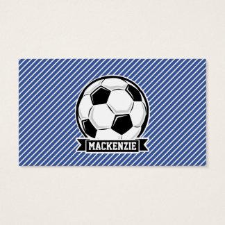 Soccer Ball, Blue & White Stripes, Sports Business Card