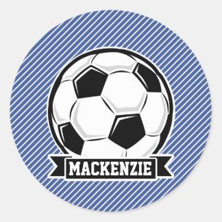 Soccer Ball, Blue & White Stripes, Sports Classic Round Sticker