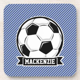 Soccer Ball, Blue & White Stripes, Sports Drink Coaster