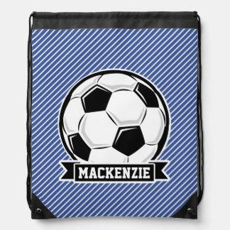 Soccer Ball, Blue & White Stripes, Sports Drawstring Backpacks